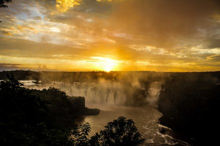 Sunset at Iguazu Falls, Brazil